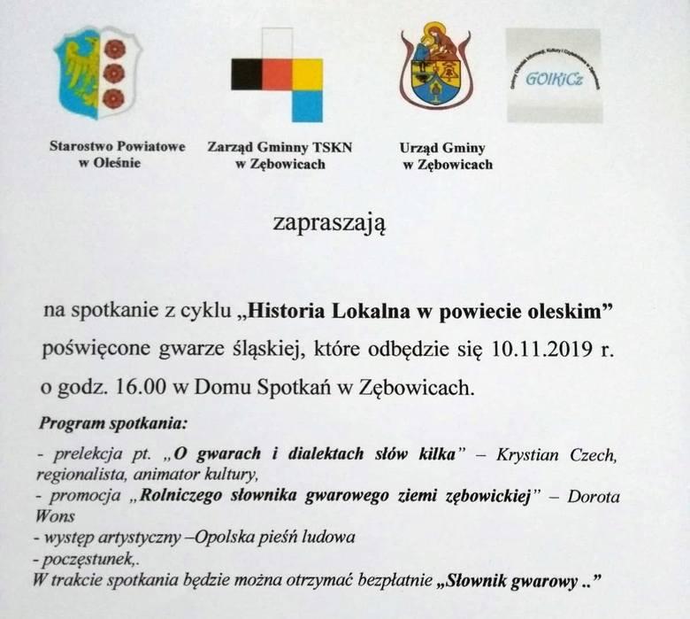 """Program spotkania autorskiego w Zębowicach w ramach cyklu """"Historia Lokalna w powiecie oleskim""""."""