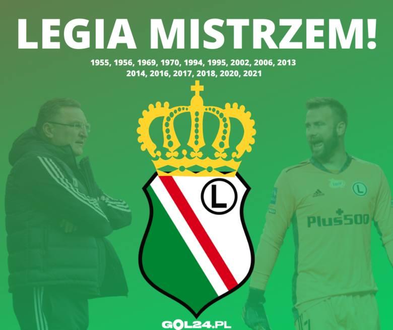 Oficjalnie: Legia Warszawa mistrzem Polski w sezonie 2020/21. Obroniła tytuł na trzy mecze przed końcem