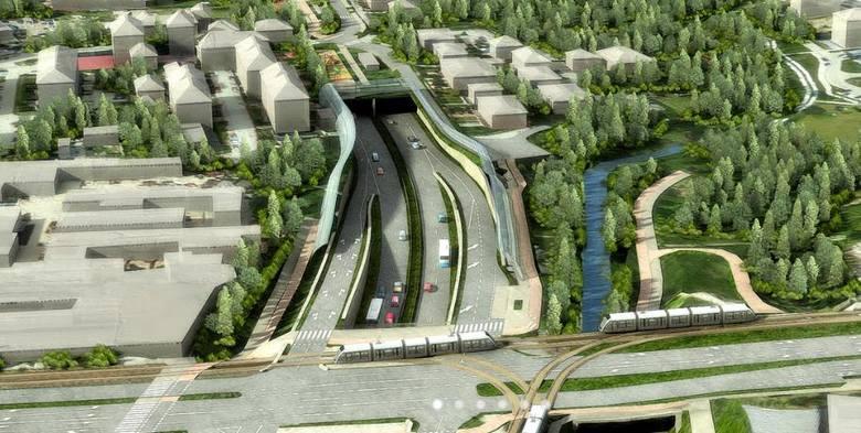 Budowa trasy Łagiewnickiej w Krakowie.
