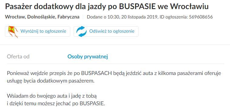 Buspasy jako sposób na biznes? Wrocławianie wiedzą, jak wykorzystać nowe przepisy. Ogłoszenie na Olx to dowód na polską przedsiębiorczość