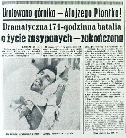 Zabrze. Alojzy Piontek uratowany po 8 dniach od zawału w kopalni Rokitnica. Mija 50 lat od jednej z najsłynniejszych katastrof