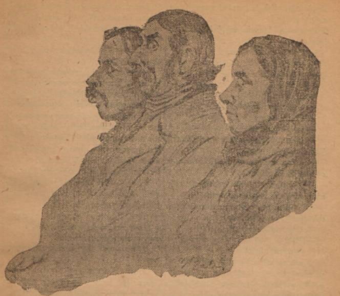 Rysunek przedstawiający zeznających świadków w procesie
