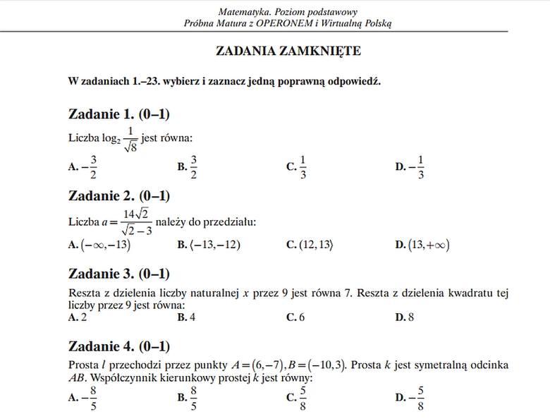 operon matura odpowiedzi matematyka