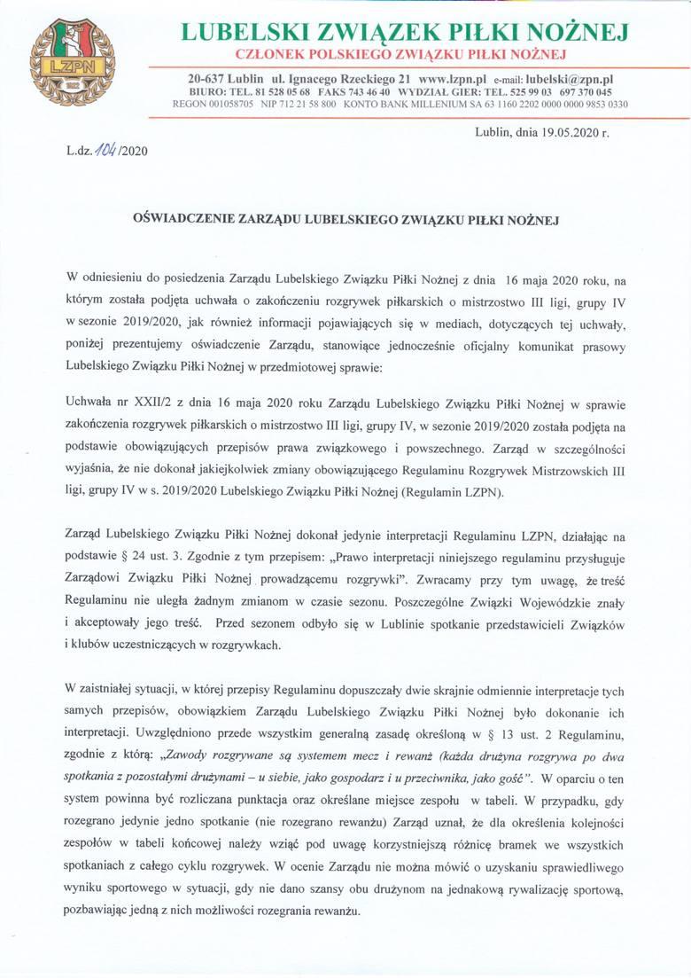 Lubelski Związek Piłki Nożnej wydał oświadczenie w sprawie zakończenia sezonu 2019/20 w IV grupie III ligi