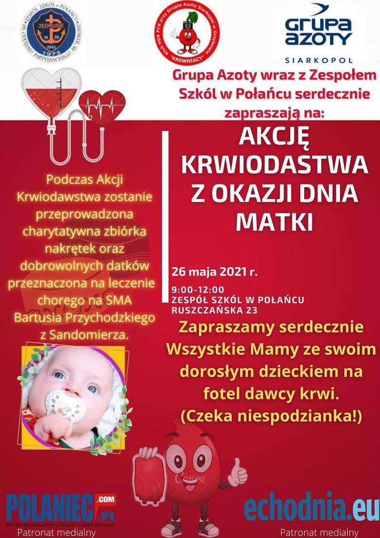 26 maja w Połańcu startuje akcja krwiodawstwa z okazji Dnia Matki i zbiórka dla Bartusia Przychodzkiego z Sandomierza