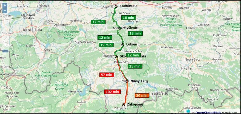 Korki na obwodnicy Krakowa (A4) i zakopiance.