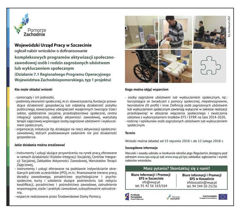 Wojewódzki Urząd Pracy w Szczecinie ogłosił nabór wniosków o dofinansowanie kompleksowych programów aktywizacji społeczno-zawodowej osób i rodzin zagrożonych
