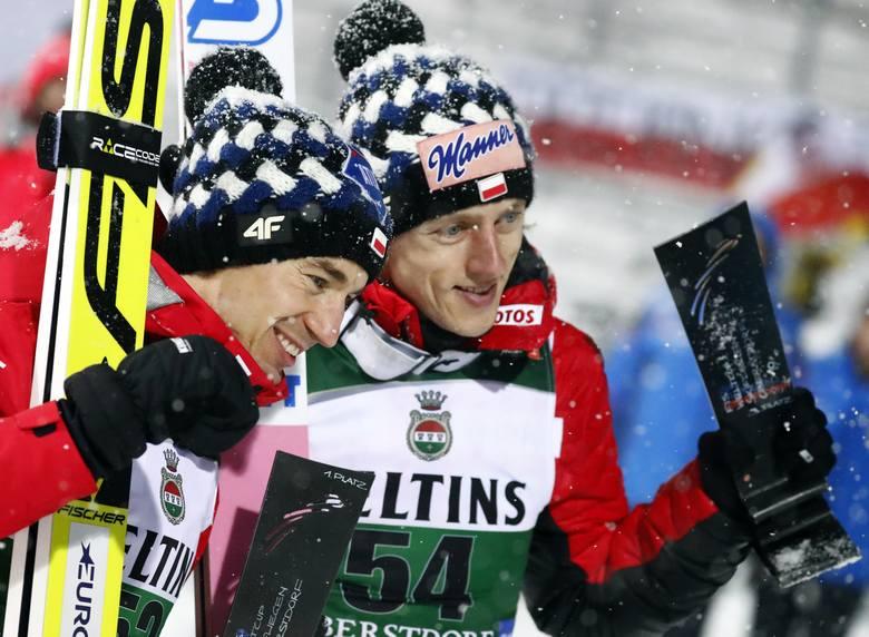 Kamil Stoch i Dawid Kubacki po niedzielnym konkursie w Oberstdorfie
