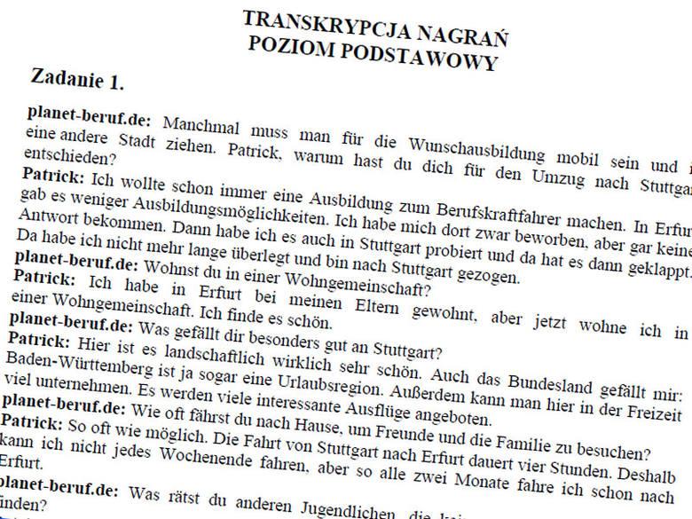 Matura 2011. Język niemiecki - transkrypcja