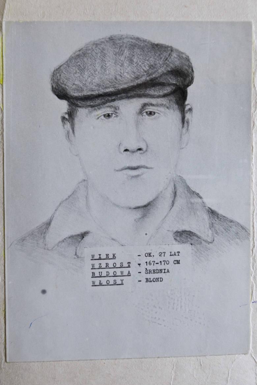 Portret pamięciowy domniemanego sprawcy. Problem polegał na tym, że opisywał wygląd i ubranie przeciętnego Polaka w tamtych czasach.