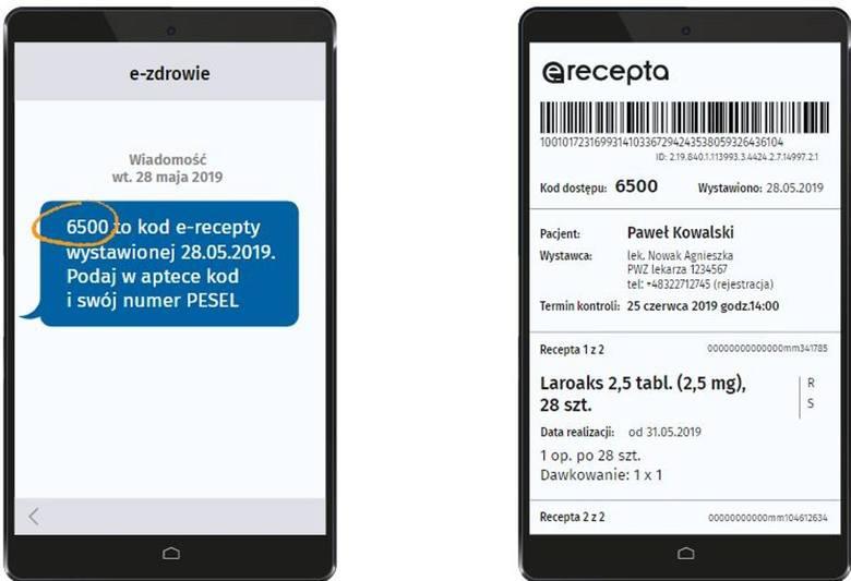 Tak wygląda sms  z informacją o recepcie oraz zawartość pliku pdf, który możemy otrzymać mailem