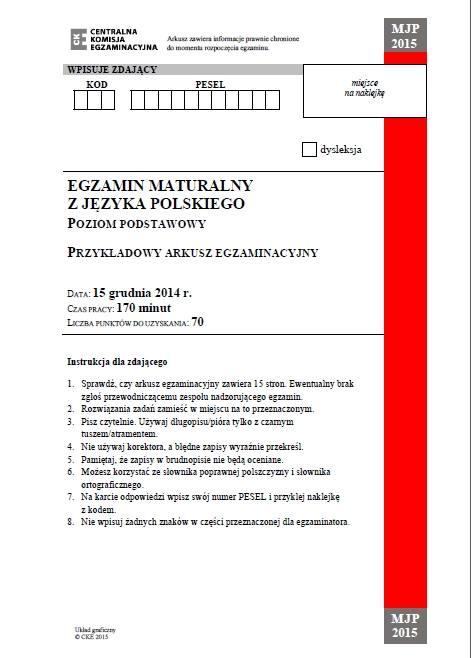 Matura 2015. Egzamin próbny z j. polskiego