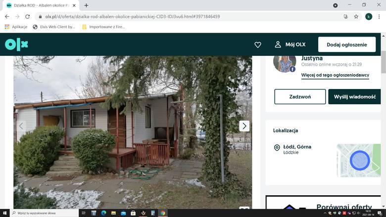 Działka ROD - Albalen okolice Pabianickiej37 500zł Powierzchnia: 284 m2 Działka z domkiem murowanym obłożonym białym sidingiem (pokój z wersalką, kuchenka