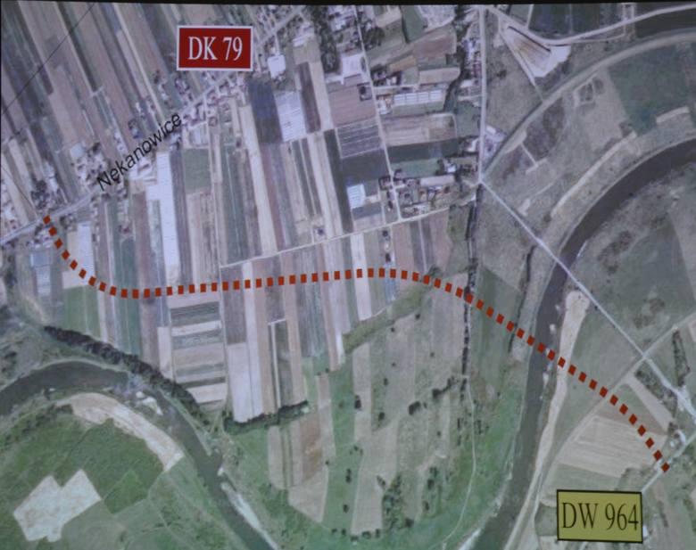 Mapa z zaznaczoną lokalizacją mostu w rejonie ulicy Nękanowice.