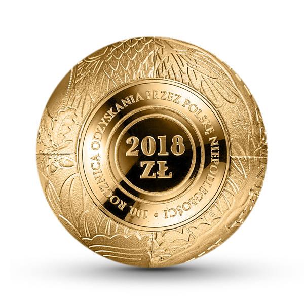 Na zdjęciu: Moneta 2018 zł.Jubileuszowa moneta ze złota najwyższej próby o nominale 1 zł odwzorowuje jednozłotówkę powszechnego obiegu w wersji z 2017