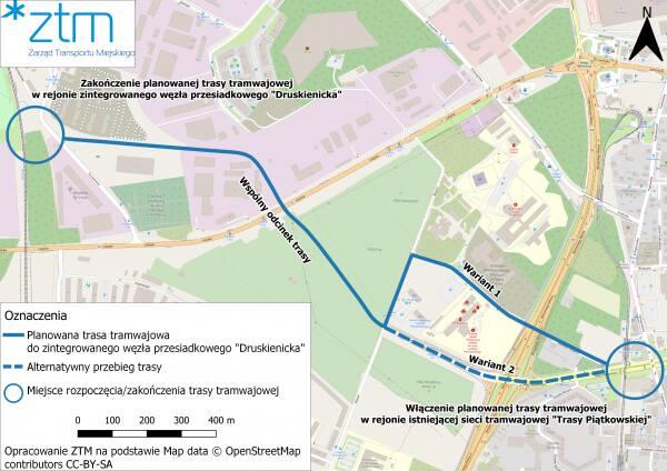 Trasa tramwajowa na Podolany.