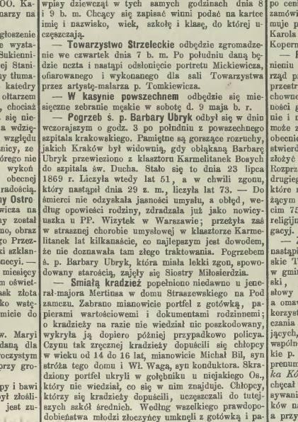 """Wzmianka o pogrzebie Barbary Ubryk, s. 284 – """"Czas"""" 1891, nr 100 (2 V), s. 2"""