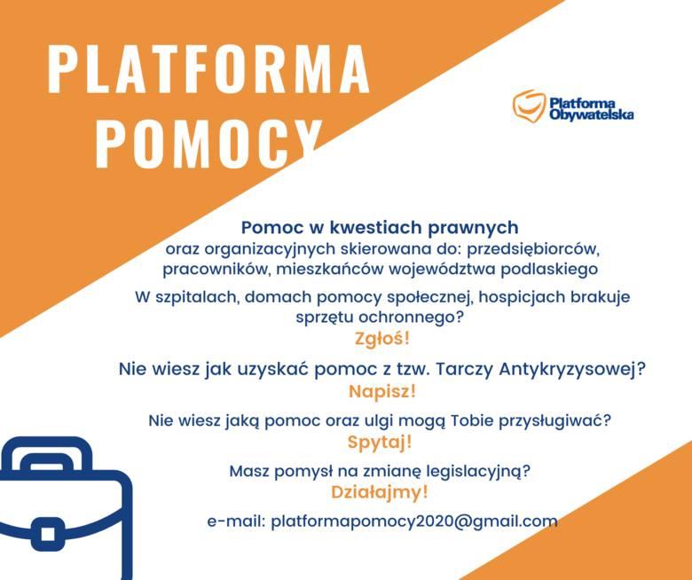 Pomoc oparta jest na czterech filarach. Pisać można na maila: platformapomocy2020@gmail.com