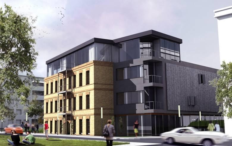 Tak widziałaby nowy budynek przy ul. św. Mikołaja 8 absolwentka wydziału architektury PB. Widać, że udało się jej połączyć stare z nowym.