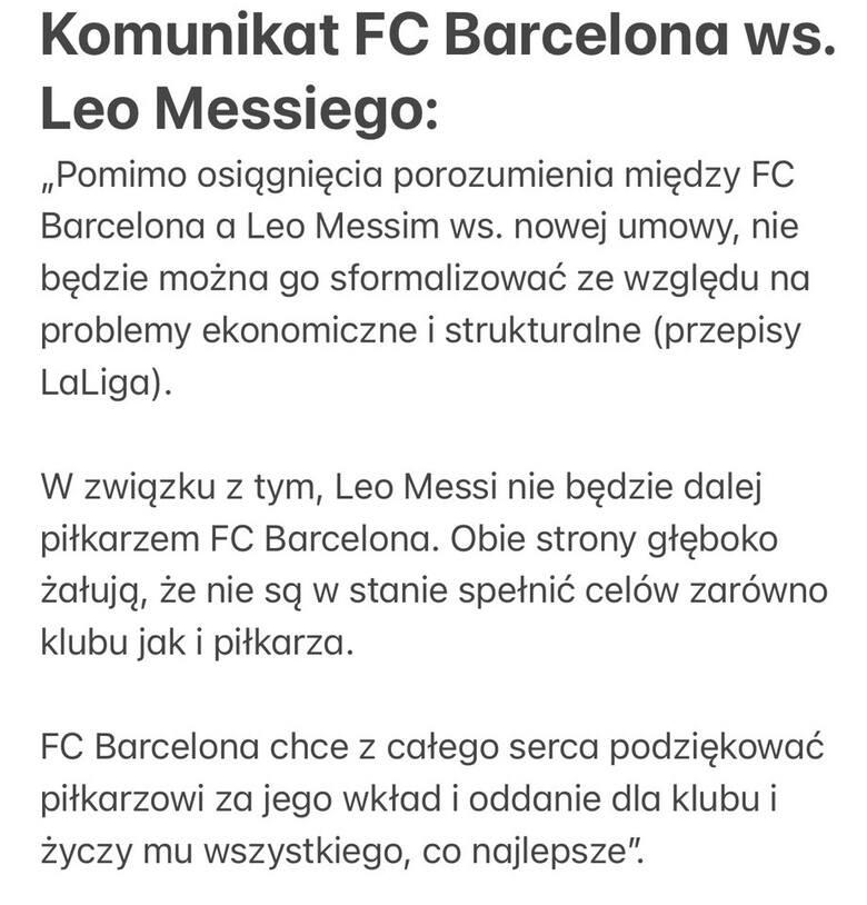 Leo Messi odchodzi z Barcelony! Nie może podpisać nowej umowy. Klub potwierdza rozstanie