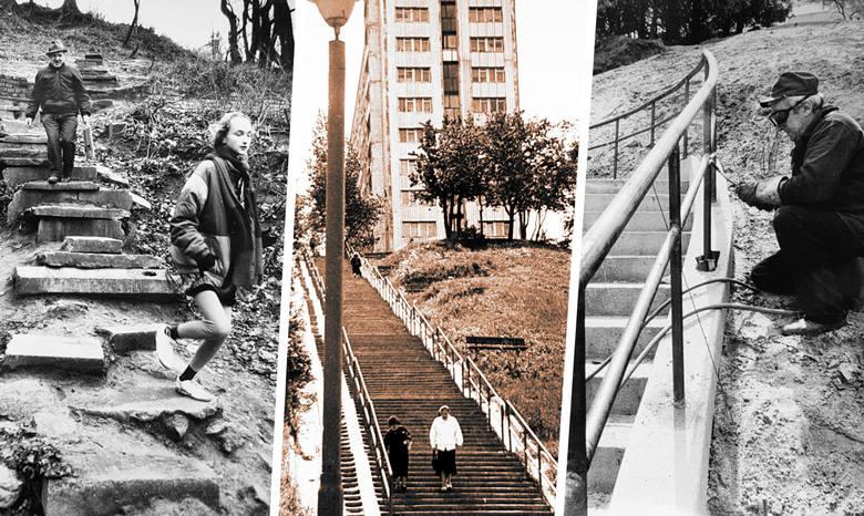 Bydgoskie schody na starych zdjęciach. Zabieramy Was w krótki spacer! Na fotografiach wykonanych wiele lat temu widać, m.in. schody prowadzące ze Szwederowa