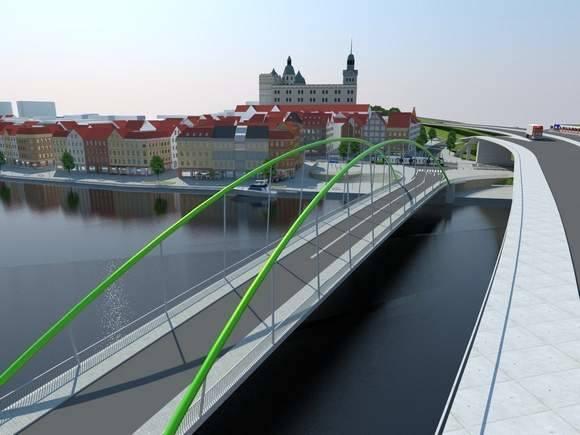 Jedna z wizji jak mógłby wyglądać Most Kłodny. Zwraca uwagę likwidacja łącznic z Nabrzeża Wieleckiego na Trasę Zamkową. Przyszła przeprawa ma przejąć