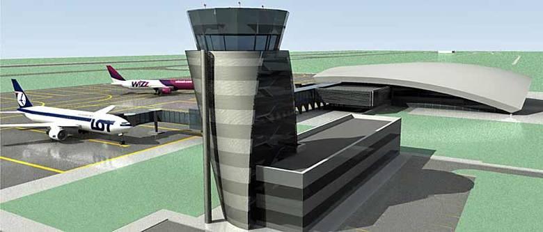 Widok na przyszłą wieżę i nowy terminal.