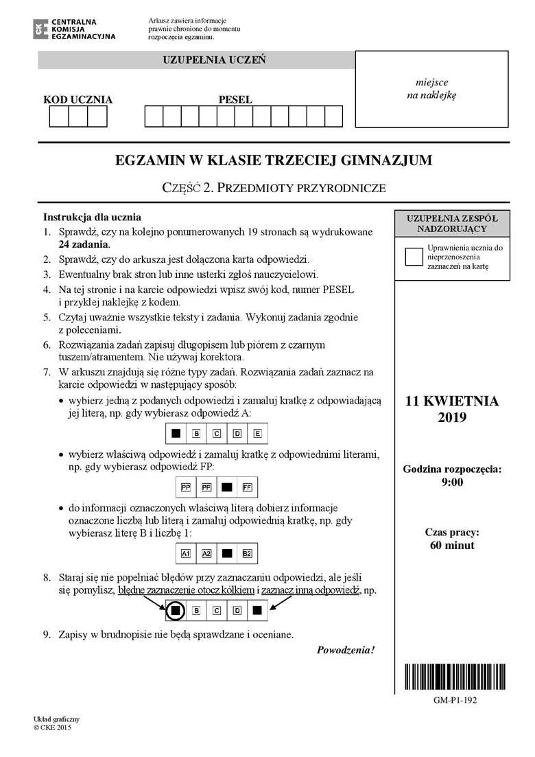 Egzamin gimnazjalny 2019 - przyrodnicze [ODPOWIEDZI]