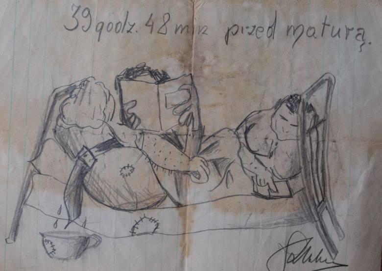 Karykatura wykonana przez Kazimierza Urbanika na niespełna 39 godzin przed egzaminem maturalnym w brzeskim liceum (publikowana po raz pierwszy). Ze zb. Marii Andryasiewicz-Myśliwskiej.
