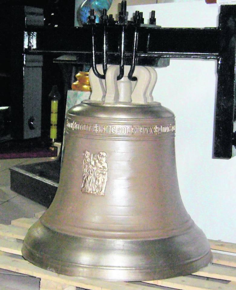 Kopia największego dzwonu z napisem o św. Barbarze