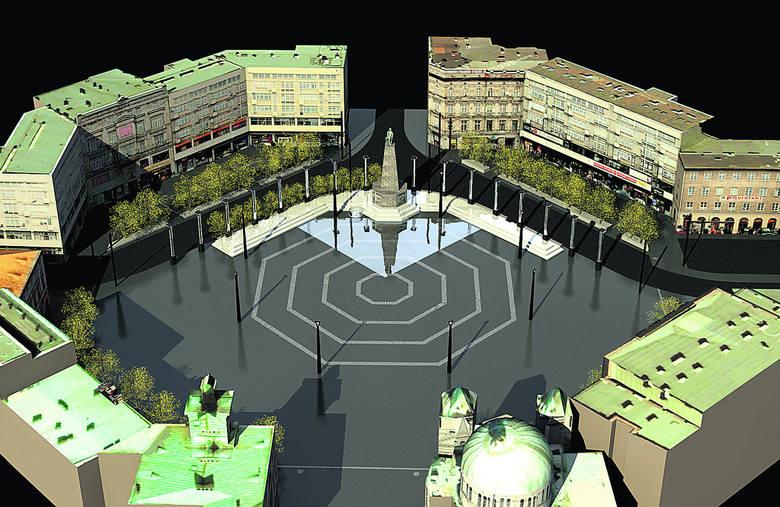 Tak ma wyglądać plac Wolności po przesunięciu pomnika Tadeusza Kościuszki o 32 metry na północ.