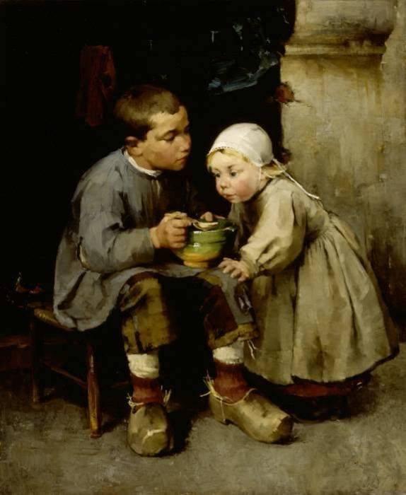 A Boy Feeding his Younger Sister (Chłopiec karmiący młodszą siostrę)