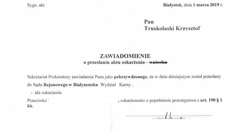 Poseł Krzysztof Truskolaski walczy z hejterami. Akt oskarżenia trafił właśnie do sądu