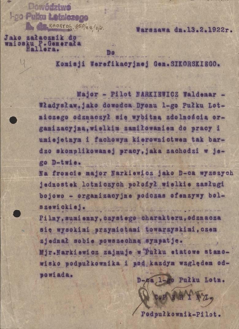 Jeden z dokumentów, jakie pozostały po majorze pilocie Władysławie Waldemarze Narkiewiczu - wystawiony przez podpułkownika pilota Camilla Periniego, dowódcę 1. Pułku Lotniczego