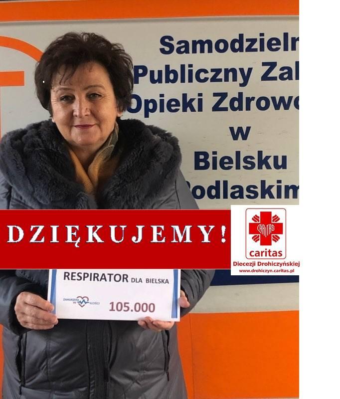 Dyrektor szpitala Bożena Grotowicz dziękuje organizatorom zbiórki i wszystkim darczyńcom