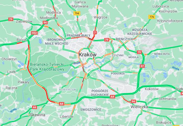 Aktualna sytuacja na drogach w Krakowie (godz. 19:00)
