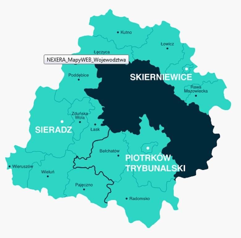 Jaśniejszym kolorem zaznaczone są obszary Łódzkiego, które obejmie inwestycja Nexery