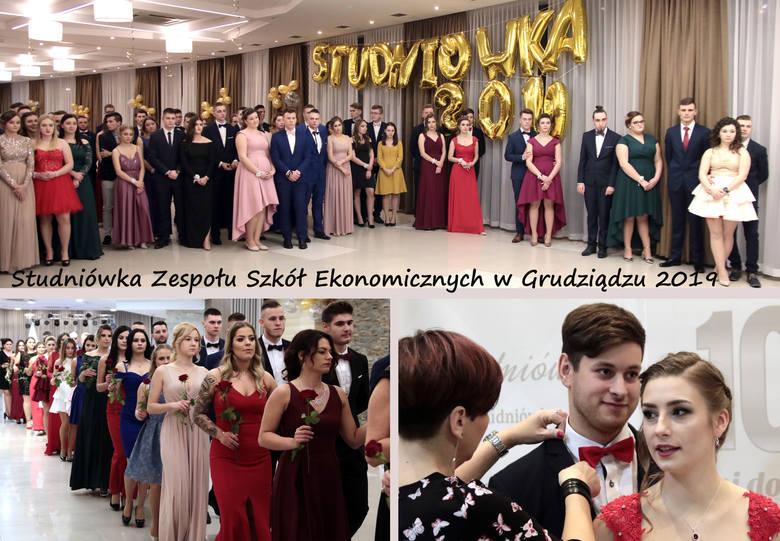 """Przyszli maturzyści z czterech klas grudziądzkiego """"Ekonomika"""" bawili się na balu studniówkowym w hotelu Rudnik. Studniówkę otworzyła"""