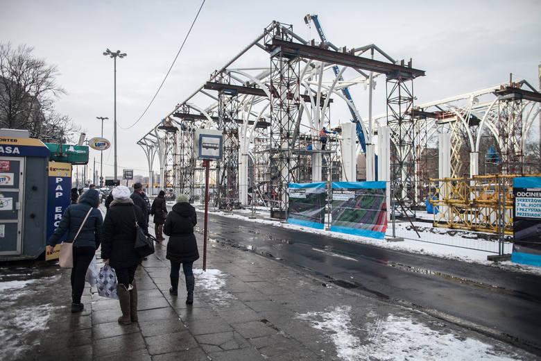 Budowa przystanku Piotrkowska Centrum - styczeń 2015 r.