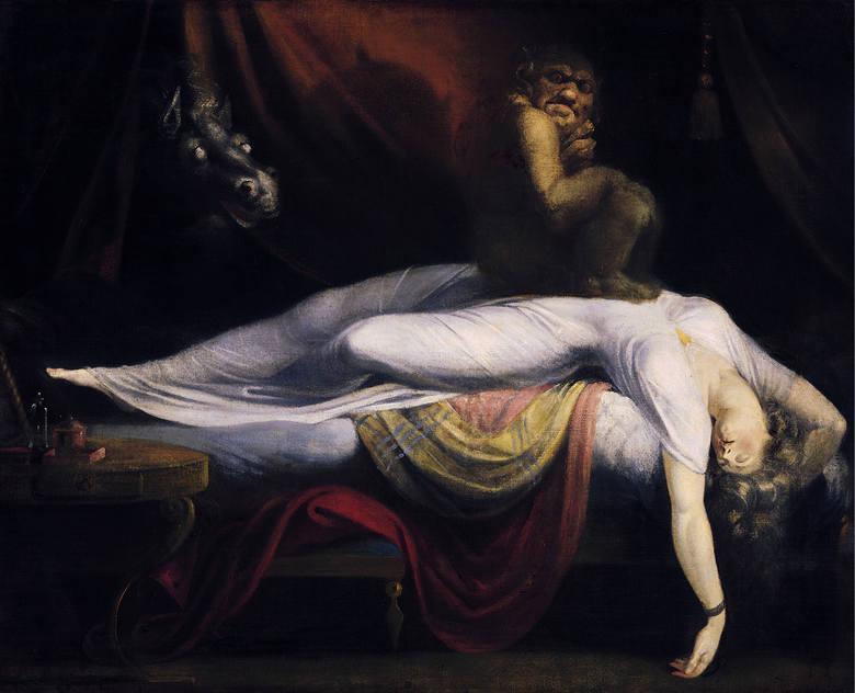 Koszmar nocny Henry'ego Fuseli z 1781 roku jest uważany za jedno z klasycznych przedstawień paraliżu przysennego jako odwiedziny demona.
