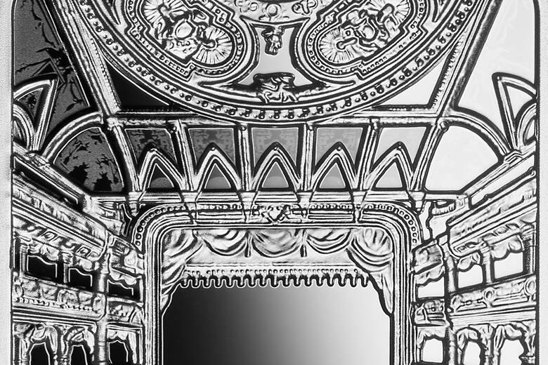 Awers srebrnej monety o nominale 20 zł poświęcony jest Teatrowi im. Juliusza Słowackiego w Krakowie
