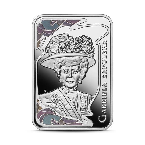 Na rewersie srebrnej monety o nominale 20 zł odnajdziemy stylizowany portret Gabrieli Zapolskiej