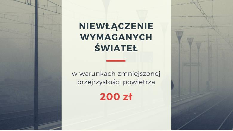 Za niewłączenie wymaganych świateł w warunkach zmniejszonej przejrzystości powietrza dostaniemy mandat na 200 złotych.