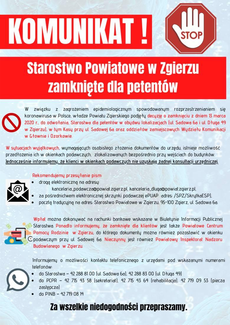 Starostwo Powiatowe w Zgierzu zamknięte dla interesantów!