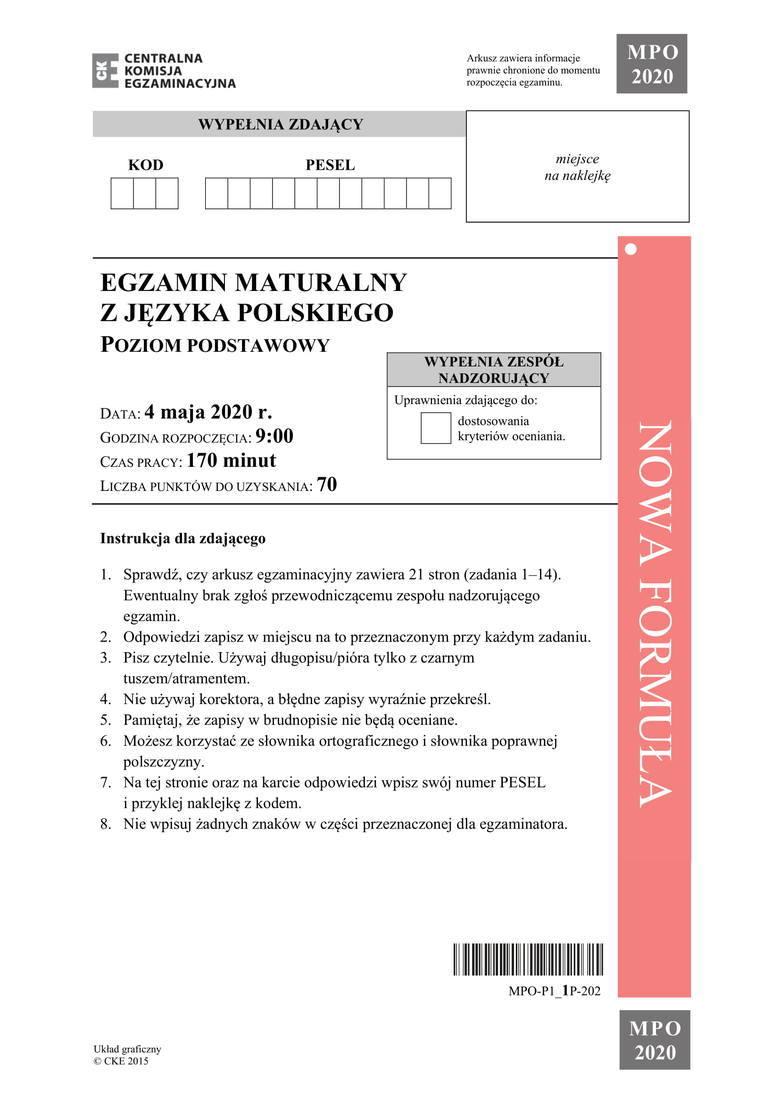 Matura 2020: Język Polski ODPOWIEDZI Poziom podstawowy, jakie były tematy? Rozprawka z Wesela [ARKUSZE, CKE] Pytania i odpowiedzi 11.06.2020