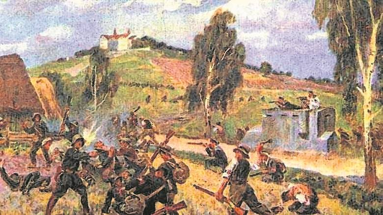 Grupa powstańców pod Olzą. Widoczne białe opaski na ramionach