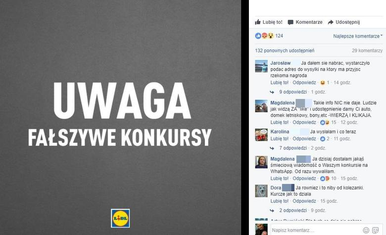 Sieć Lid ostrzega klientów przed fałszywymi konkursami na swoim Facebooku