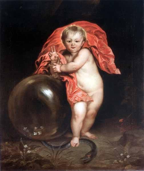 """""""Dzieciątko Jezus"""", kopia obrazu A. van Dycka, II pol. XVII lub pocz. XVIII w."""