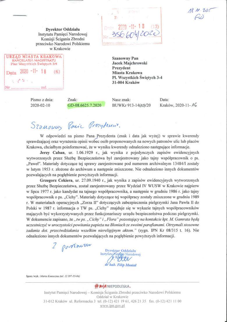 Pismo IPN ws. działalności księdza Grzegorza Cekiery w PRL
