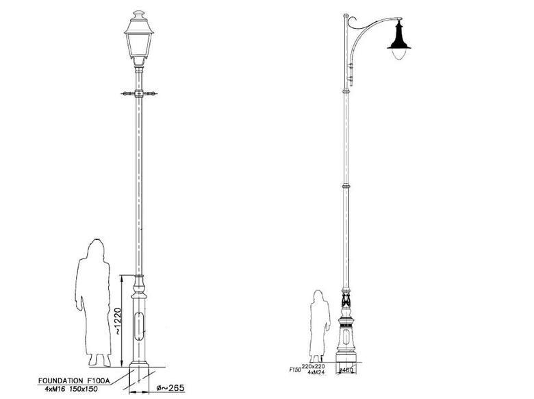 Po lewej: Wyglądu słupa parkowego stylowego z oprawą. Po prawej: Wyglądu słupa wysokiego stylowego z oprawą.